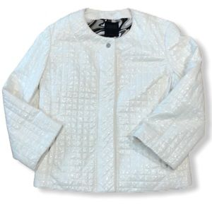Hilary Radley Faux Patent Leather Quilted Blazer